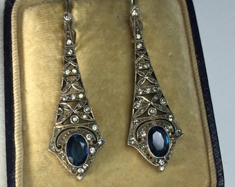 A Pair of Silver and Paste Edwardian Earrings, Antique Earrings, Rhinestone