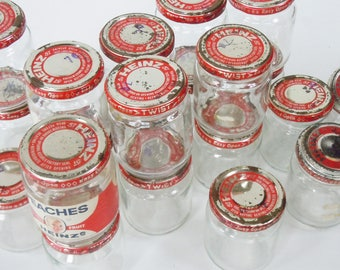 Baby Food Jars / Vintage  organization System from the past / 20 little Heavy Glass Jars / Workbench Organization.