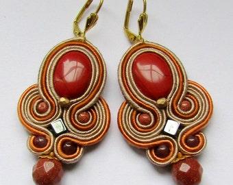 Soutache Earrings Beige with jasper