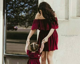 Girl's (2T-14Yrs) Off The Shoulder Ruffle Dress. Burgundy. Mommy and Me Dress. Daughter. Fall, Spring, Summer