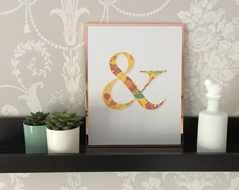 Home Decor - Digital download (JPEG) Detailed yellow bright floral print ampersand (&)  A4 file size