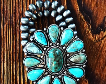 Round turquoise stretch bracelet