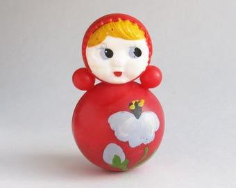 Roly Poly Doll, 6.5 cm, Nevalyashka, Cute Toy, Flower, Soviet vintage plastic toy, Souvenir, Nursery Decor, Made in USSR, 1980s