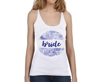Bride and Bridesmaids Lavender Floral Circle Bachelorette Shirts on Your Shirt Style Choice