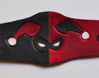 Harley Quinn Leather cuff, Harley Quinn Leather bracelet, Harley Quinn cosplay, suicide squad, joker cosplay