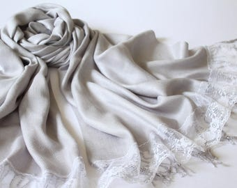 LIGHT GRAY SCARF - light gray shawl - bridal scarf - silver bridal shawl - silver pashmina - bridesmaid gift - silver shawl - silver scarf