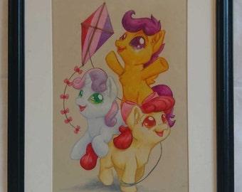Friendship framed original drawing - OOAK