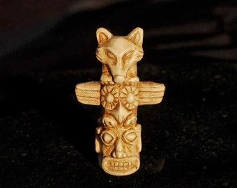 Miniature Wolf Owl Totem