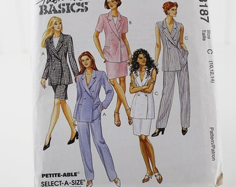 Lined Jacket, Vest, Skirt and Pants Pattern, Uncut Sewing Pattern, McCall's 8187, Size 10-14