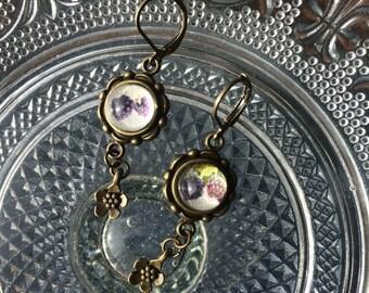 Blueberry raspberry earrings - earrings