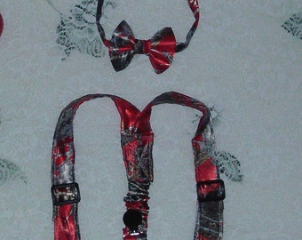 Red Camo For  Christmas Boys Bowtie and Suspenders set Made from Truetimber Mc2 Red Satin Camo fabric