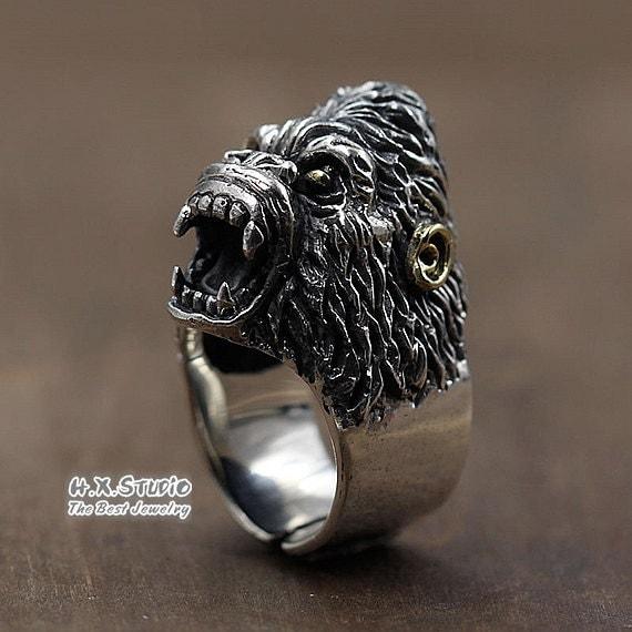 Silver ape man ring unique handmade silver jewelry men 39 s for Unique handmade jewelry wholesale
