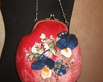 Fancy tiny felted handbag handmade.