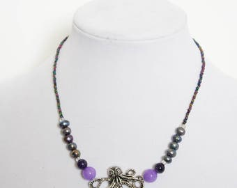 Beautiful Octopus Necklace with pearls, agate, and lavendar quartzite