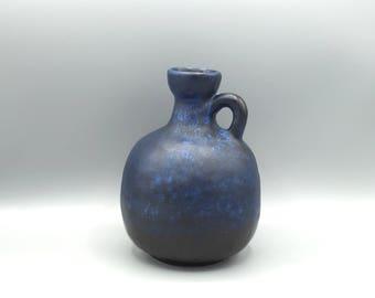 Ruscha Keramik 333 mat blue / black vintage vase designer : Kurt Tschorner Mid-Century Modern  from the 1960s / 1970s West Germany. WGP.