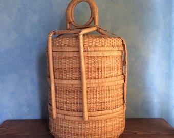 Vintage Chinese Wedding Basket - Three Tier Wicker Basket