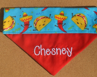 Fiesta ~ Personalized / Reversible ~ Over The Collar Dog Bandana