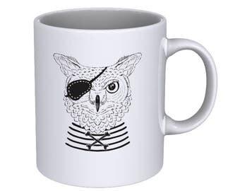 Pirate Owl - Hand Drawn - Cool Funny - Coffee Mug - Best Gift !!!