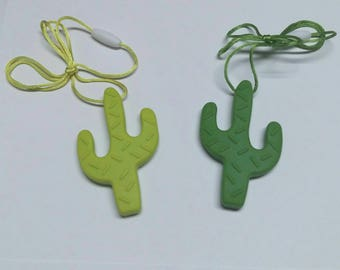 Silicone Cactus Teether/Pendant with cord and clasp.