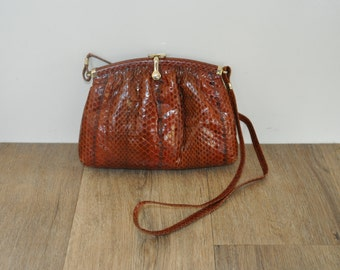 Vintage Snakeskin Handbag // Shoulder Bag // Vintage Brown Bag