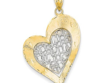 14K Yellow Gold 14K White Gold Two Tone Diamond Cut Satin Heart Pendant Charm LKQD4359