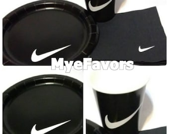 25 Swoosh Round Paper Cake Plates, Beverage Napkins and Cups Tableware Set- Nike Basketball Theme Supplies for Baby Shower, Birthday Party &