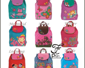 Signature Collection Stephen Joseph Quilted Backpack, Monogram, Personalized Children's Backpack, Owl, Mermaid, Fairy, Horse, Turtle, Cat.