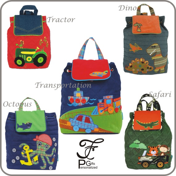 Signature Collection Stephen Joseph Quilted Backpack, Monogram, Personalized Children's Backpack, Tractor Transportation Dino Safari Octopus