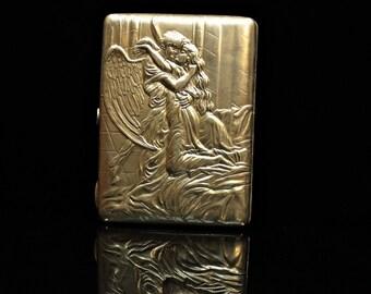 Antique original silver gold  84 hallmark man and ady decorated dizayn cigarette case