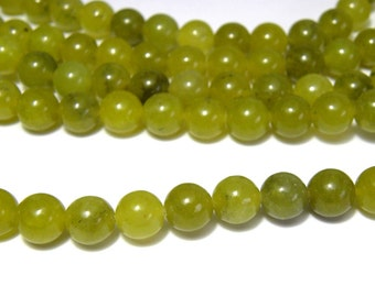 Round Natural Peridot Real Gemstone Beads - 8mm
