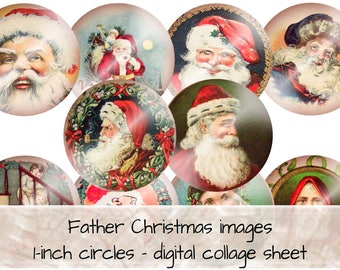 Father Christmas 1 inch round circles digital collage sheet 0014