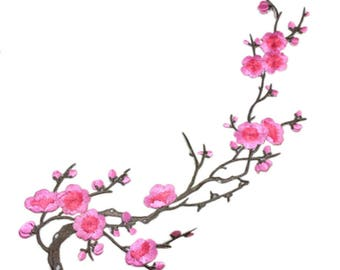 Cherry Pink Blossom Floral Applique Fabric Patches - More Colours