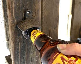 Wall Mounted Beer Bottle Opener l Cast Iron Bottle Opener l Rustic Bottle Opener l Beer Gifts l Groomsmen gifts l Housewarming gift