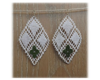 "White chandelier lace Earrings - ""Cream and  Clover"" - lace earrings - boho earrings"
