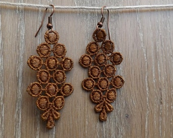 "Golden lace chandelier Earrings - ""Toffee"" - boho earrings"