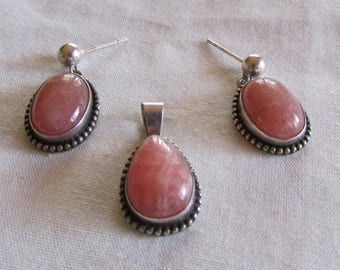 Sterling Silver and Rhodochrosite Pendant and Earring Set