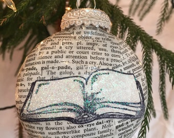 Book Christmas ornament, vintage dictionary pages and open book image