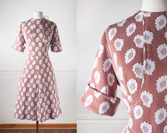 Plus Size 60s Dress, Daisy Dress, Burnt Orange Dress, Fit and Flare Dress, 50s Style Dress Midi Dress Rockabilly Dress Retro Dress Day Dress