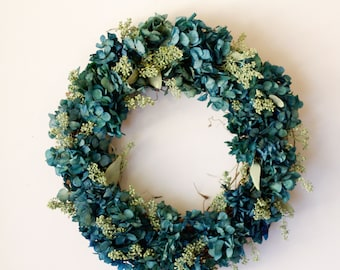 Dried Preserved hydrangea and seeded euchalpytus wreath, blue and green, turquoise, home decor, indoor wreath, rustic, farmhouse, country,