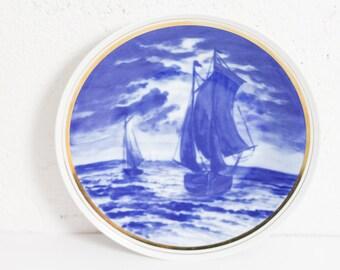 Vintage Teller Porzellan Segelschiff Maritim blau weiß Wandteller Zierteller Dekoteller Bild Meer echt kobalt indisch blau