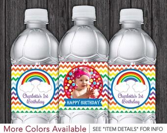 Rainbow Water Bottle Labels • Printable Rainbow Birthday Party Decorations • DIY Digital File
