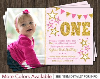 Twinkle Twinkle Little Star Birthday Invitation - Pink and Gold First Birthday Invitations
