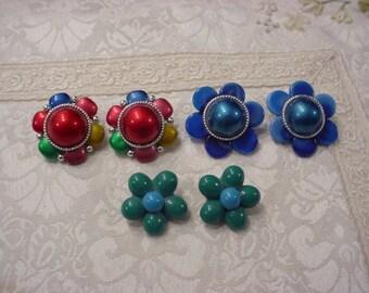 3 Pair Vintage Funky Colorful EARRINGS ~ Clip On