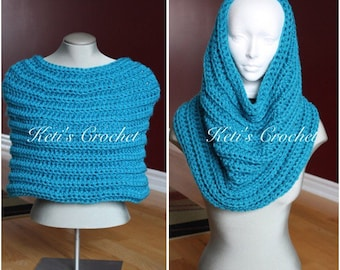 Ready to ship Crochet Capelet,Turquoise Capelet,Transformer Cowl,Crochet Capelet,Chunky Cowl,Cross Body Cowl,Chunky Cowl,Crochet Cowl