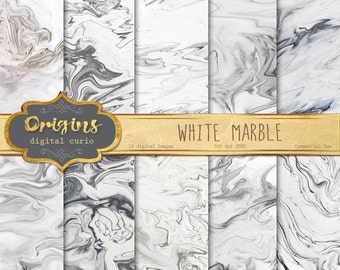 White Marble Digital Paper - black and white marble, natural stone marble textures, marble ...
