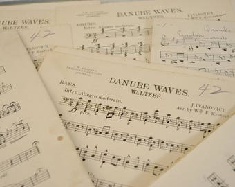 Bundle of Music Sheets , Ephemera Paper ,Black and White Paper , Wrapping Paper ,  Scrapbooking