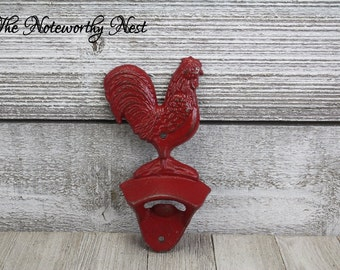 ANY COLOR: Rooster Cast Iron bottle opener // Rooster bottle opener // wall mounted bottle opener // Rooster Kitchen Decor // Rooster