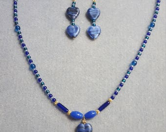 Blue Hearts necklace and earrings