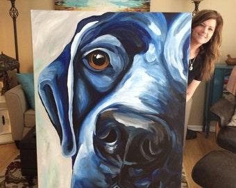 Large Pet Painting, Extra Large Pet Painting, Custom Dog Painting Custom Pet portrait , large and extra large sizes