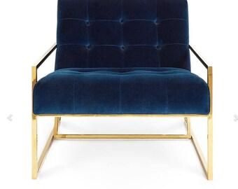 Hollywood Regency Style Cobalt Blue Velvet Brass Accent Chair